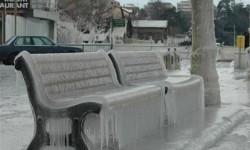 un banc de glace