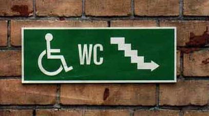 panneau d'accès pour handicapés avec escaliers